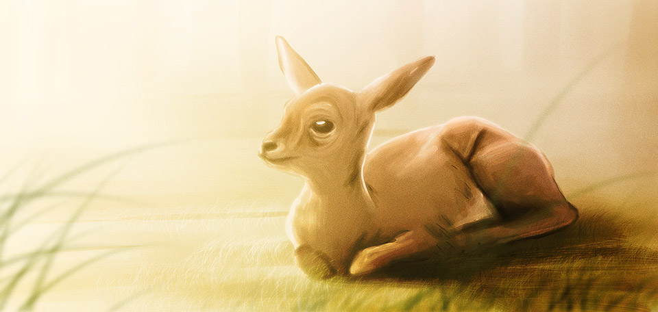 This young and beautiful animal is lying peacefully on the grass, enjoying the warmth of the sunlight… -- Beautiful Fawn - Digital Art by Matthias Zegveld