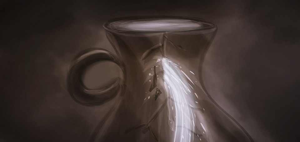 This Art pictures an old metaphor from the Bible, which talks about a broken jar that cannot hold its water. -- Broken Jar - Digital Art by Matthias Zegveld
