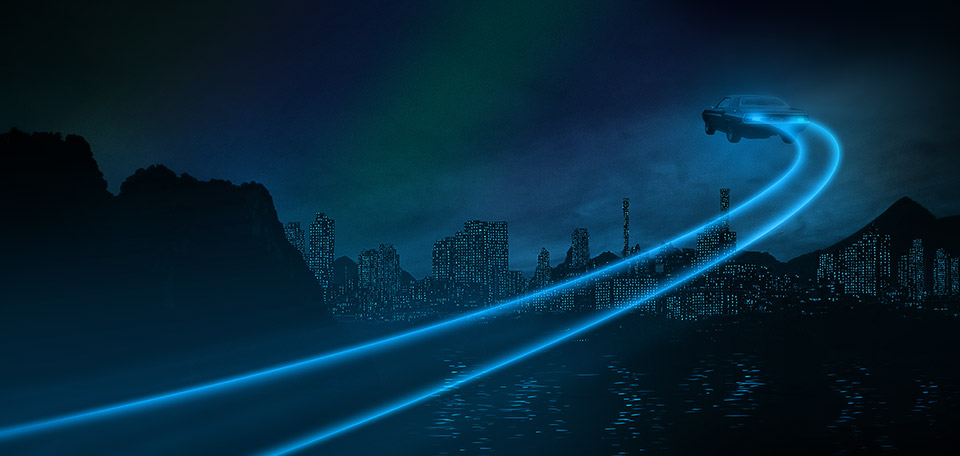 A flying car with a trail of lights is seen flying in this Artwork, that pictures a futuristic city. -- City of the Future - Digital Art by Matthias Zegveld