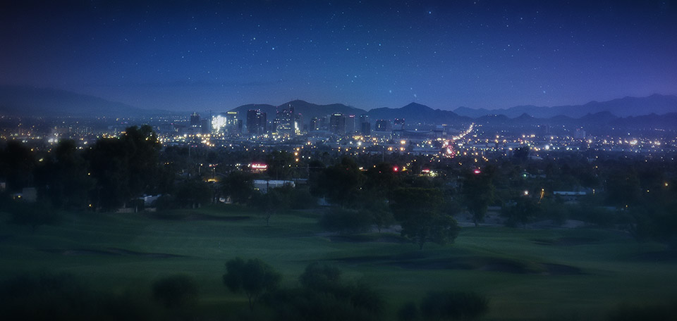With its clear sky at night giving way to a view of the stars, this is the nice city of Phoenix. -- City of the Sun - Digital Art by Matthias Zegveld