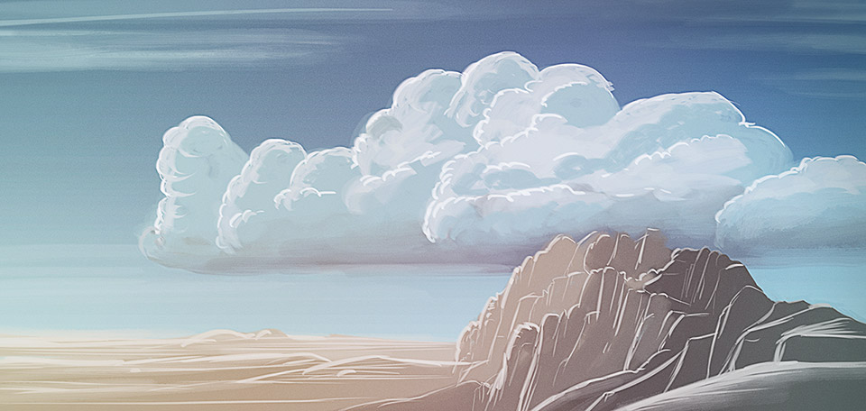 Clouded with layers of puffy clouds, an ocean of sand as wide as the horizon, and a stroke of mountains to the right. -- Desert Mountains - Digital Art by Matthias Zegveld