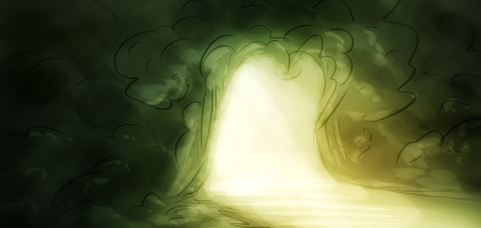 Go and step into the light… It will do you good… -- Entrance of Karshmil - Digital Art by Matthias Zegveld