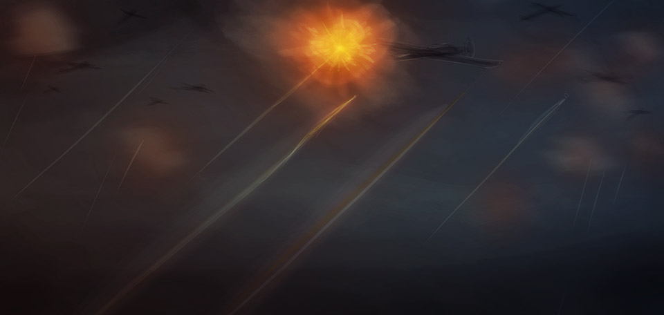 With strong destructive power, anti-aircraft cannons shoot at British airplanes in World War Two. -- Flak Air Defense - Digital Art by Matthias Zegveld