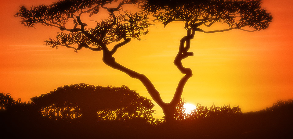 The country with the sand as red as blood, a golden sunset, Africa's nature is truly amazing. -- Incredible Africa - Digitale Art von Matthias Zegveld