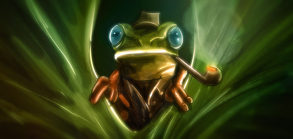 With incredible wisdom and sharp eyes, this inspector frog is about to bust the largest criminals of the swamp. -- Inspector Frog - Art Numérique par Matthias Zegveld