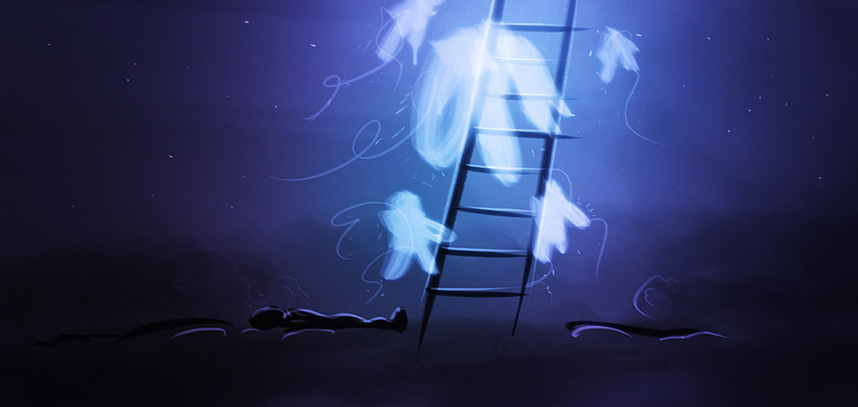 Jacob had a dream in which he saw a stairway going into heaven, and angels were descending to bring him a visit. -- Jacob's Dream - Digital Art by Matthias Zegveld
