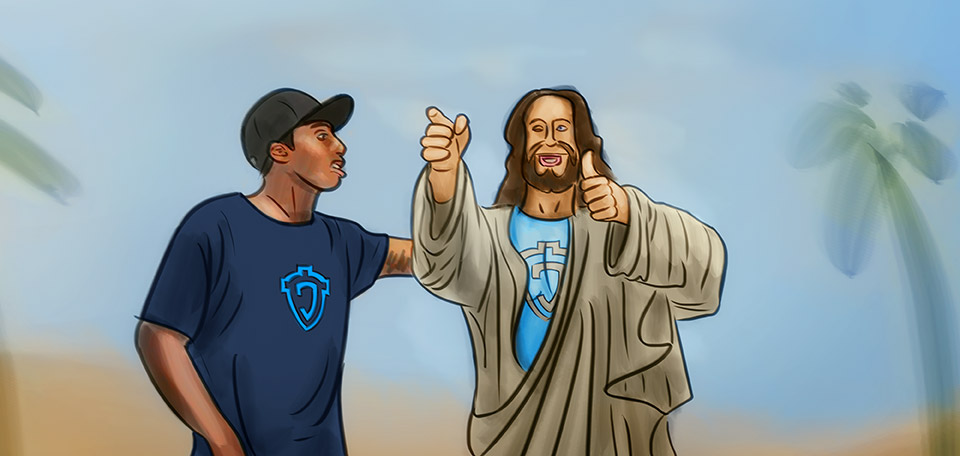 Jesus meets with rapper and hip-hop artist Lecrae to talk about future music projects. -- Jesus and Lecrae - Digital Art by Matthias Zegveld