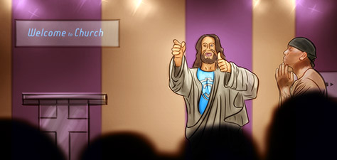 Jesus and Tyrese at the Church - Digital Art by Matthias Zegveld