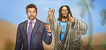 Jesus With Stallone - Digital Art by Matthias Zegveld