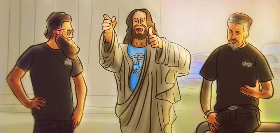 Jesus meets with Texas-based Richard Rawlings and Aaron Kaufman from the TV show Fast N' Loud. -- Jesus with the Gas Monkeys - Digital Art by Matthias Zegveld