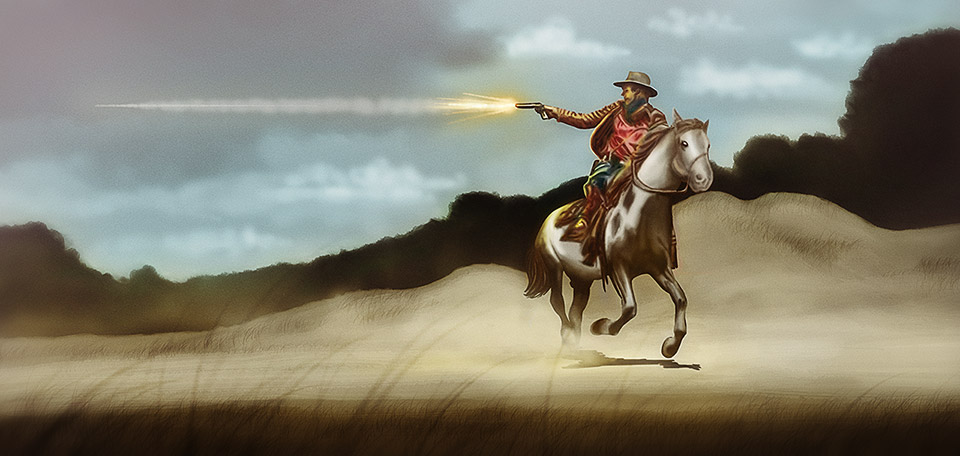 Shooting straight bullets, this awesome Texas-style ranger is taking the lead in the fight against crime. -- King of the Ranch - Digital Art by Matthias Zegveld