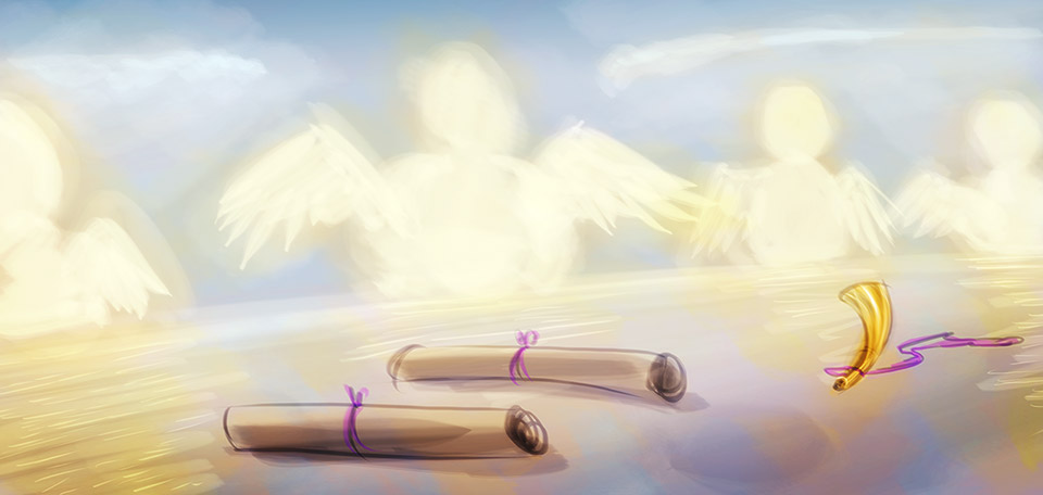 A group of glorious angels meets in the Heavenly palace to talk about how many human souls they saved that day. -- Meeting of Angels - Digital Art by Matthias Zegveld