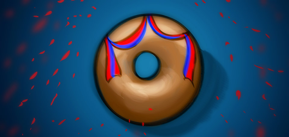 With the donut starring as a national object of pride, today we celebrate the donut's defiance over his rival — the cupcake. -- National Donut Day - Digital Art by Matthias Zegveld