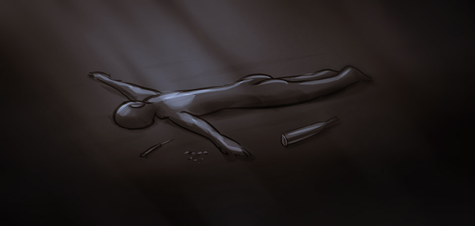 This Art pictures a young man, broken, lying naked on the cold floor, feeling hopeless and lost. -- Nothing Left to Lose - Digital Art by Matthias Zegveld