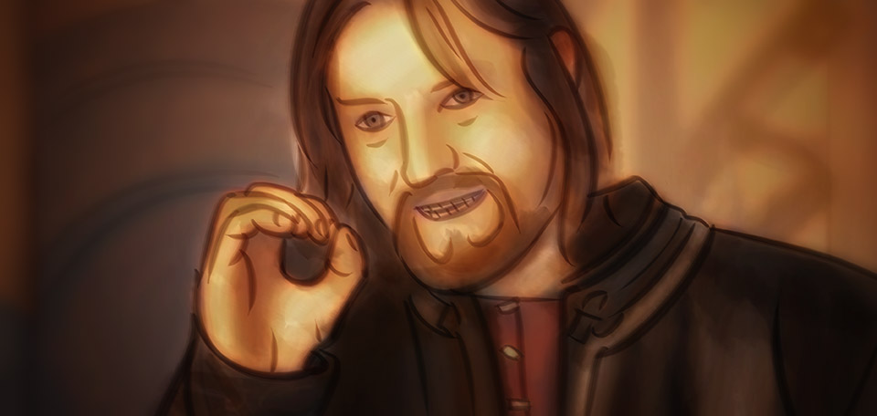 A fan Art based on the famous movie scene from The Lord of the Rings, from the meeting at the Elven city. -- One Does Not Simply - Digital Art by Matthias Zegveld