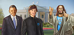 President Matthias Zegveld at the White House with Jesus and Barack Obama - Digital Art by Matthias Zegveld