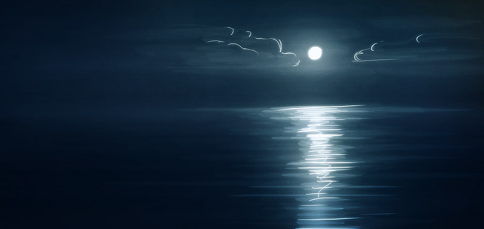 With the moon shining brightly, its light is reflecting on the vast, smooth water surface below. -- Reflection of the Moon - Digital Art by Matthias Zegveld