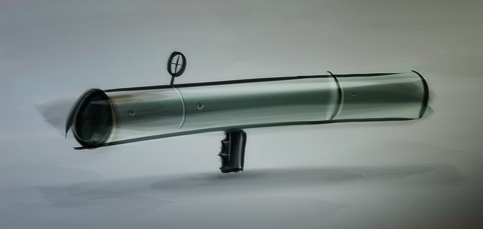 Used for defenses against large tanks and aircraft, this is a cartoony drawing of a powerful rocket launcher. -- Rocket Launcher - Digital Art by Matthias Zegveld
