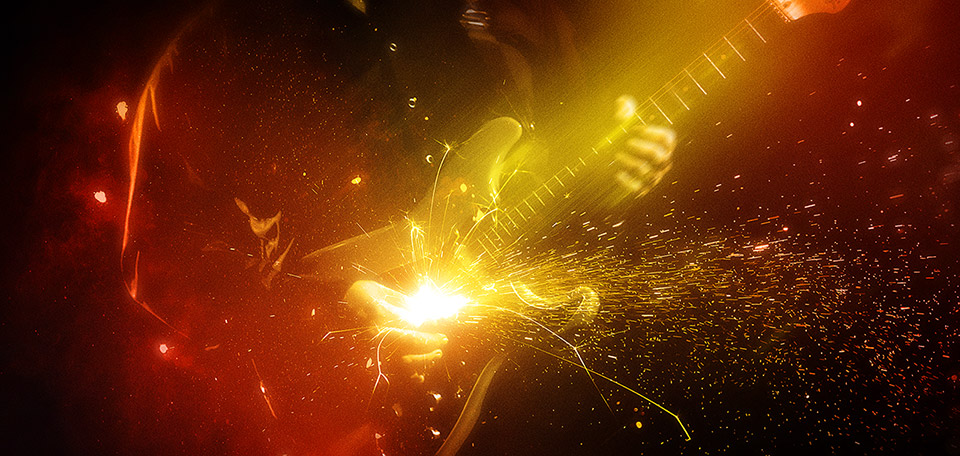 Rocking the Guitar - Digitale Art door Matthias Zegveld