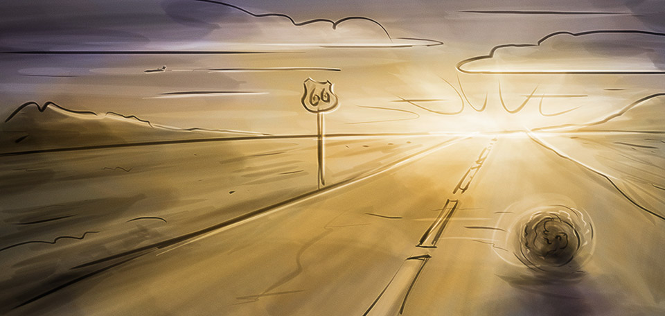 With the sun shining bright over the desert, a tumbleweed rolling over the road, this is Route 66. -- Route 66 - Digital Art by Matthias Zegveld