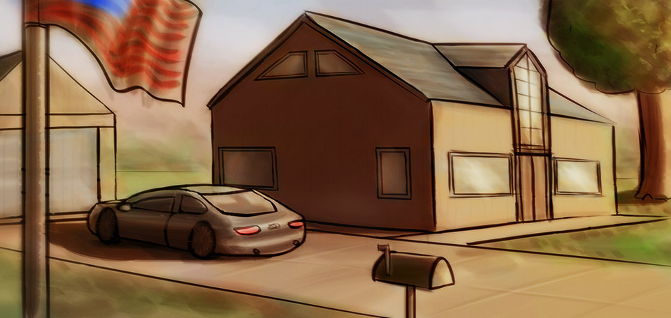 A family house, a spacious yard with a big tree, a nice car, the American flag and a typical mailbox. -- The American Dream - Digital Art by Matthias Zegveld
