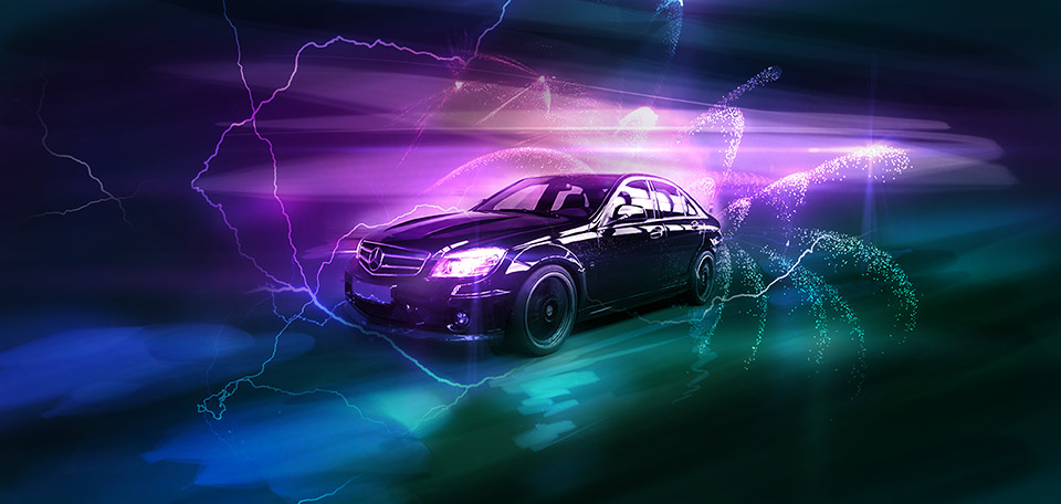 This passionate design accompanied with a set of vivid colors and stark lighting effects shows my love for the Mercedes-AMG. -- The Awesome Mercedes - Digital Art by Matthias Zegveld