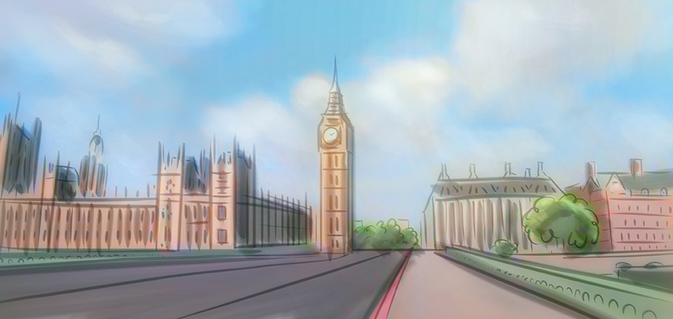 With the Big Ben tower and the Houses of Parliament in front, this Artwork pictures London's charming architecture. -- The City of London - Digital Art by Matthias Zegveld