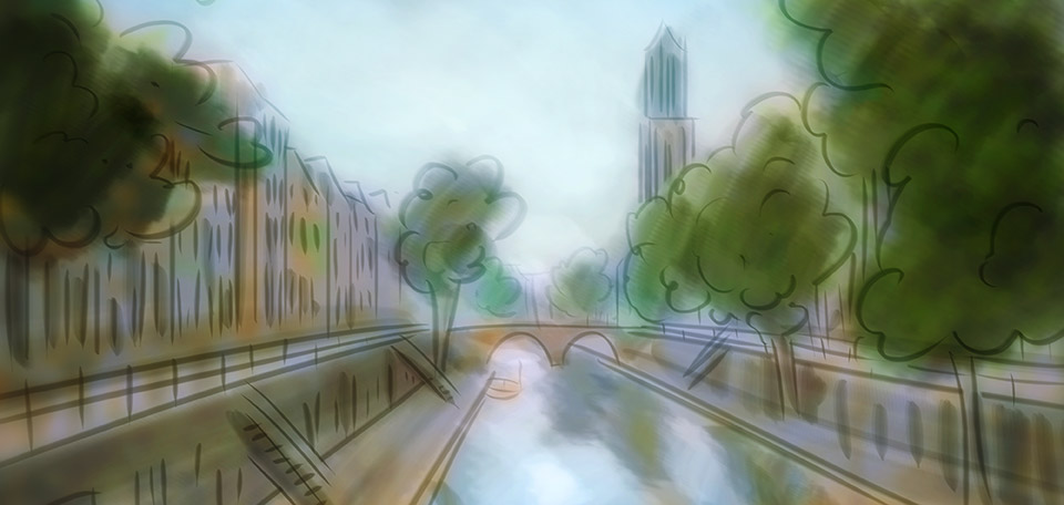 This Art pictures the historical Dutch city of Utrecht, with the old canal, houses, and the Dom tower. -- The City of Utrecht - Digital Art by Matthias Zegveld
