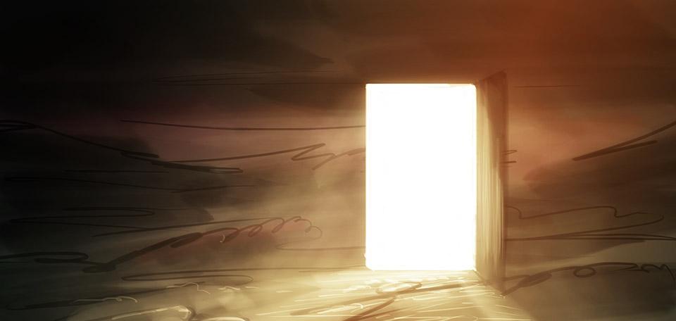 Soucieux de servir les âmes désespérées avec un transfert vers le ciel, cette porte ne est pas une simple porte - ce est une personne: Jésus. -- La Porte - Arte Digital de Matthias Zegveld
