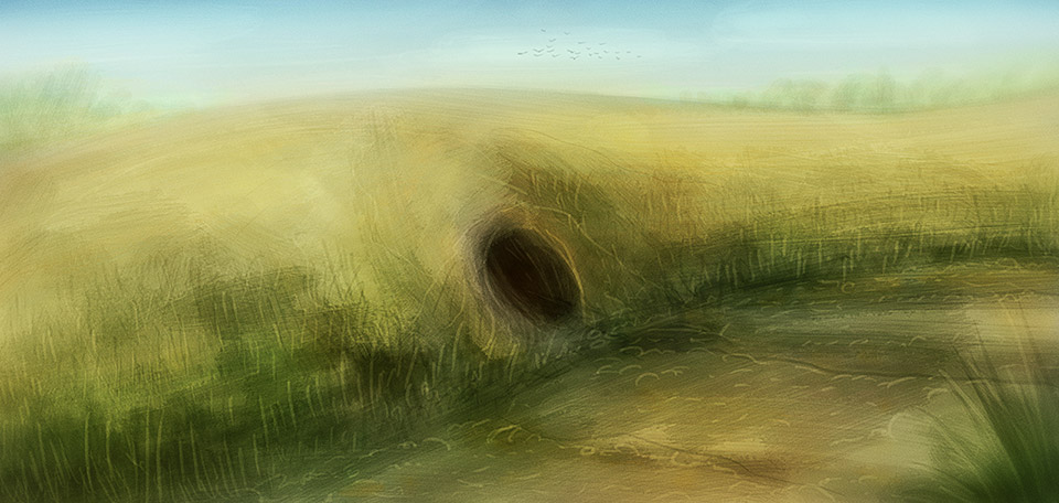Home to a dear fox, this picturesque Art depicts a scene with a large field and a foxhole in the ground. -- The Foxhole - Digital Art by Matthias Zegveld