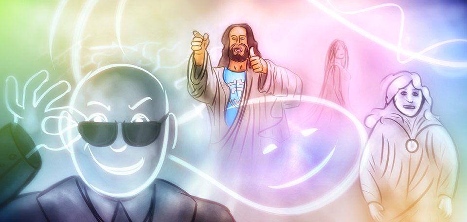 Blended together in one image, all members of the Heavenly family are portrayed in this glorious picture. -- Niebiańskie Rodziny - Digital Art by Matthias Zegveld