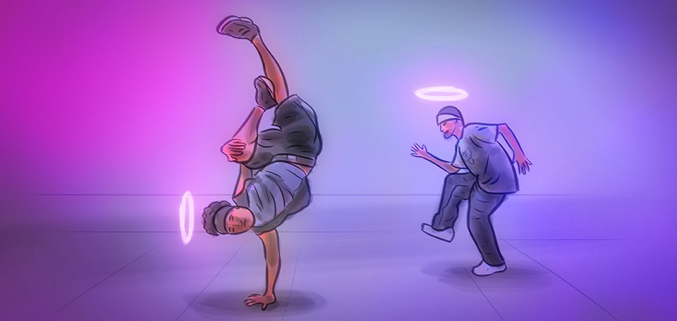 This eccentric and out-of-this-world dance crew is performing their latest 'holy dance'. -- The Holy Break Dance Crew - Digital Art by Matthias Zegveld