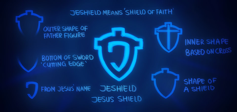 Broken down into elements and supported with comments — the Jeshield logo is being revealed. -- The Jeshield Logo Explained - Digital Art by Matthias Zegveld