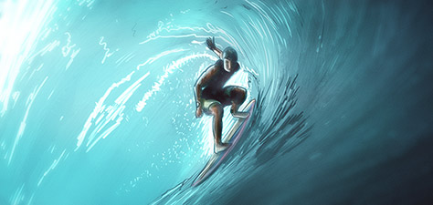 The Surfer - Digital Art by Matthias Zegveld
