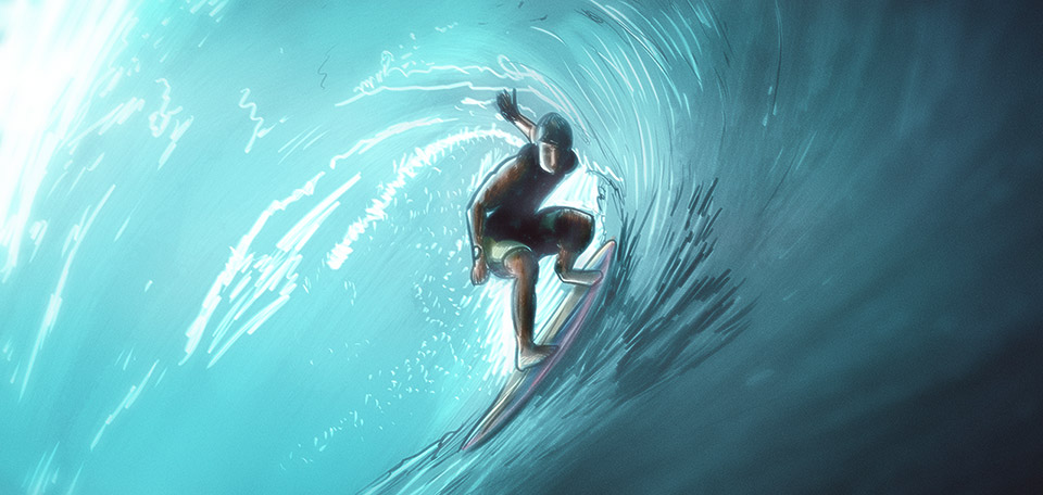 Such a great sight to see, this master-surfer is steering his surfboard over the waves like a free bird in the sky. -- The Surfer - Digital Art by Matthias Zegveld