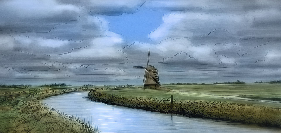 This image displays a picturesque scene in Holland, with a windmill, grass, water and a cloudy sky. -- This Is Holland - Art Numérique par Matthias Zegveld