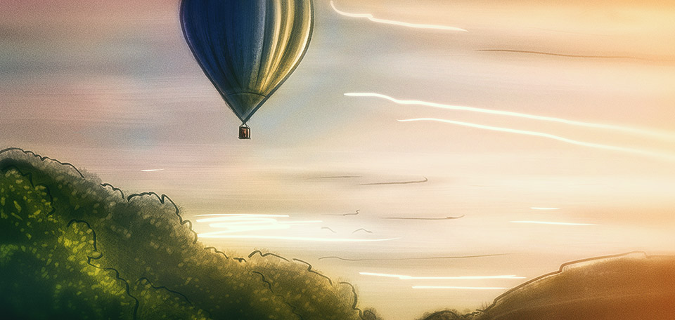 This Art pictures a hot air balloon sailing off into the distance, on its way to a better life. -- To Another World - Digital Art by Matthias Zegveld