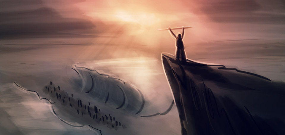 With revengeful Egyptian soldiers behind them, and the Red sea before them, God moved through Moses. -- What Moses Did - Digital Art by Matthias Zegveld