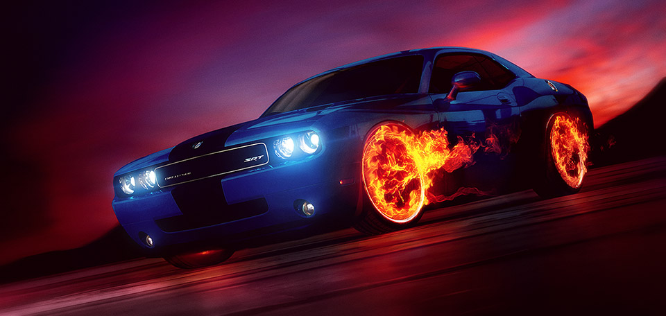 This Art pictures a Dodge Challenger with wheels on fire, and shows my passion for Digital Arts and cars. -- Wheels on Fire - Digital Art by Matthias Zegveld