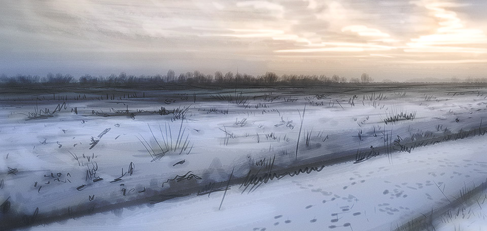 Such a peaceful sight to see — this Art pictures a typical Dutch rural landscape during the Winter, covered in snow. -- Amazing Snowscape - Digital Art by Matthias Zegveld