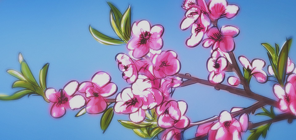 Growing on the branches of the trees, these bright pink leaves are a sign that spring has come. -- Blossoms of Spring - Digital Art by Matthias Zegveld