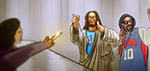 Jesus and Snoop Lion at the Bank - Digital Art by Matthias Zegveld