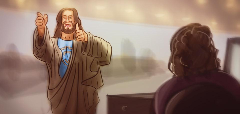 Jesus at the Office - Digital Art by Matthias Zegveld