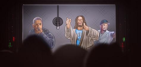 Jesus at the Studio with Eminem and 50 Cent - Digital Art by Matthias Zegveld