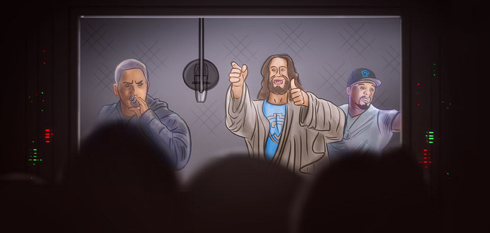 Jesus at the Studio with Eminem and 50 Cent - Digital Art by Matthias Zegveld