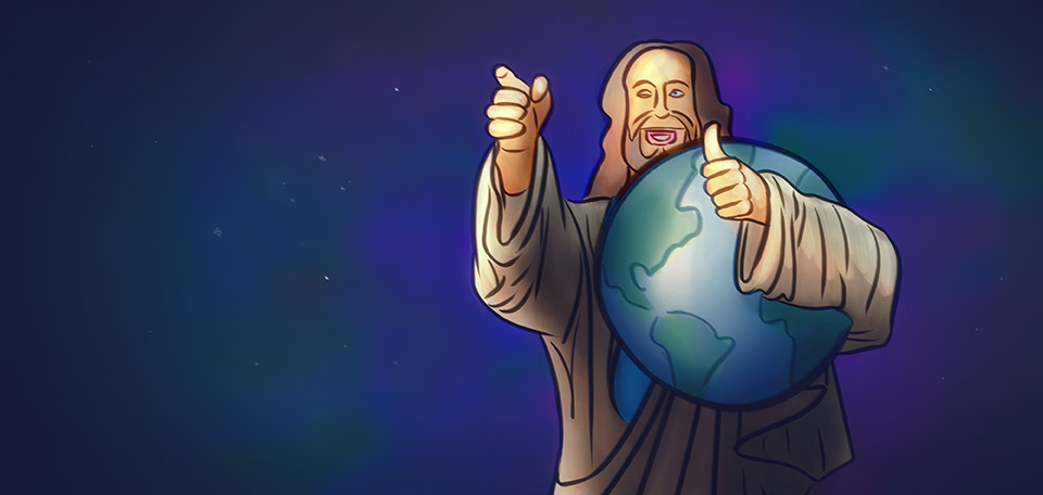 Jesus Protecting the Earth - Digital Art by Matthias Zegveld