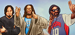 Jesus, Snoop Lion and Sonny Sandoval - Digital Art by Matthias Zegveld