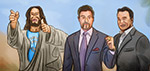Jesus, Stallone and Schwarzenegger - Digital Art by Matthias Zegveld