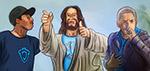 Jesus with Eminem and Lecrae - Digital Art by Matthias Zegveld