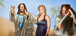 Jesus with Stormy Daniels and Moses - Digital Art by Matthias Zegveld